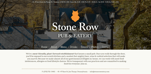 The desktop version of the Stone Row website
