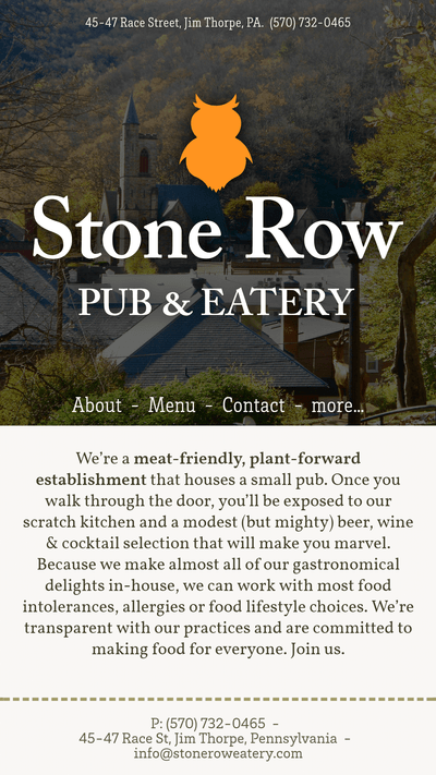 The mobile version of the Stone Row website